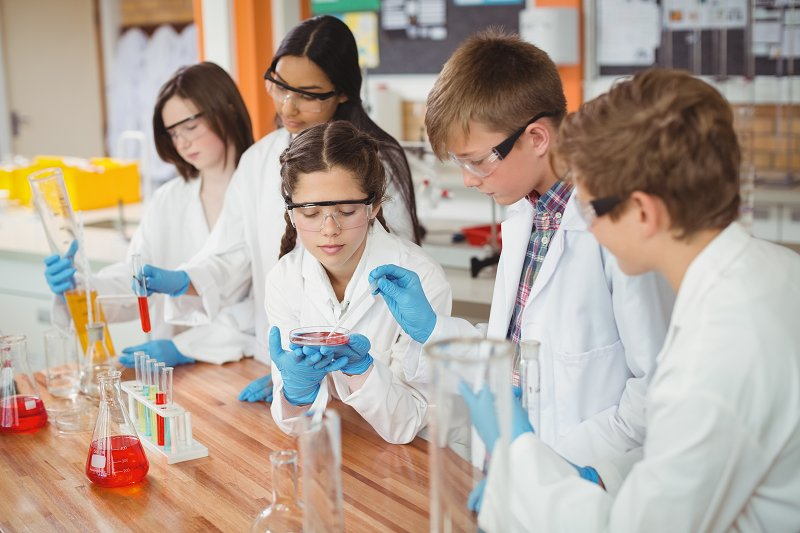 schoolkids doing science projects