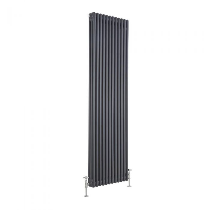 Milano Windsor - Vertical Triple Column Anthracite Traditional Cast Iron Style Radiator - 1800mm x 560mm