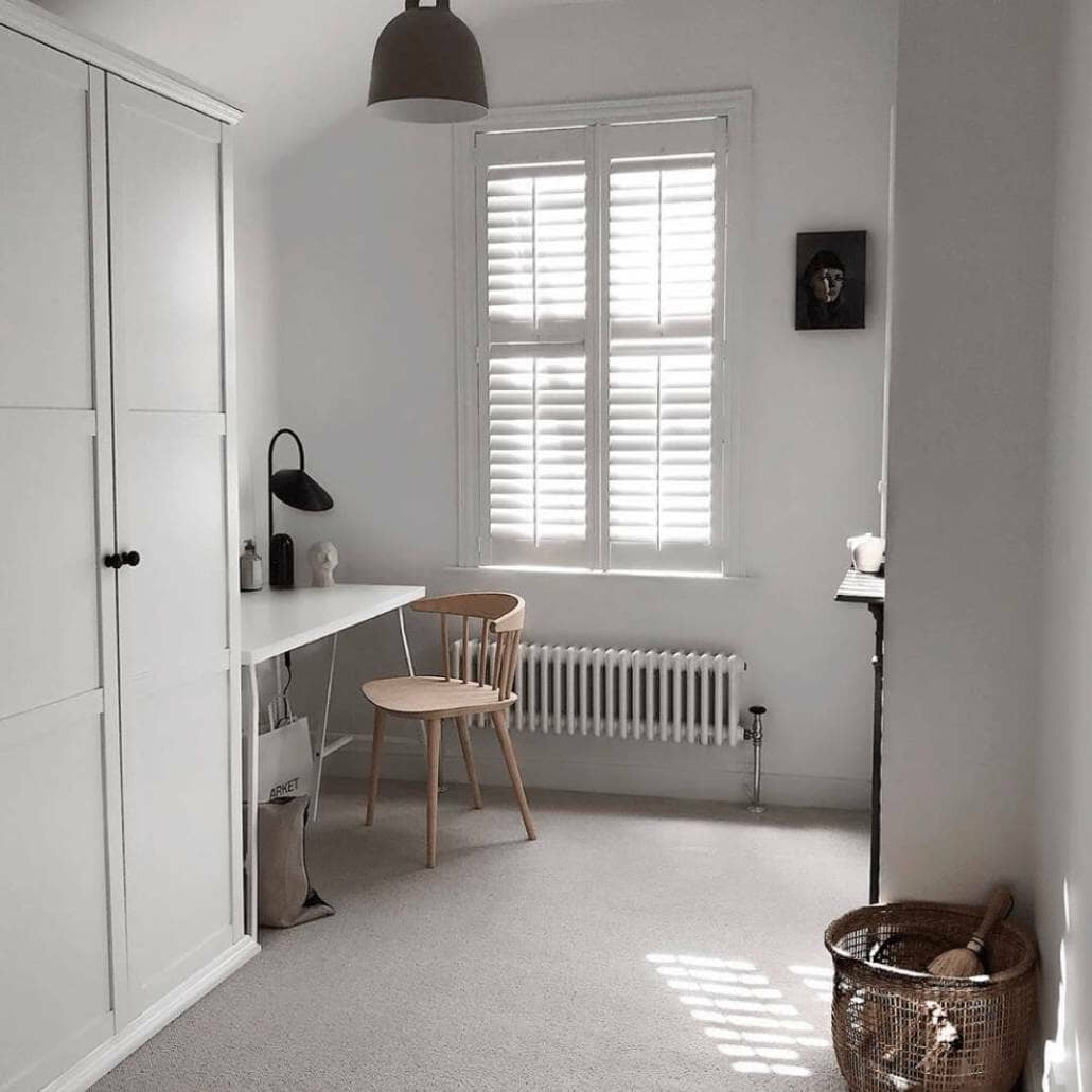 Milano Windsor column radiator in a minimal home office