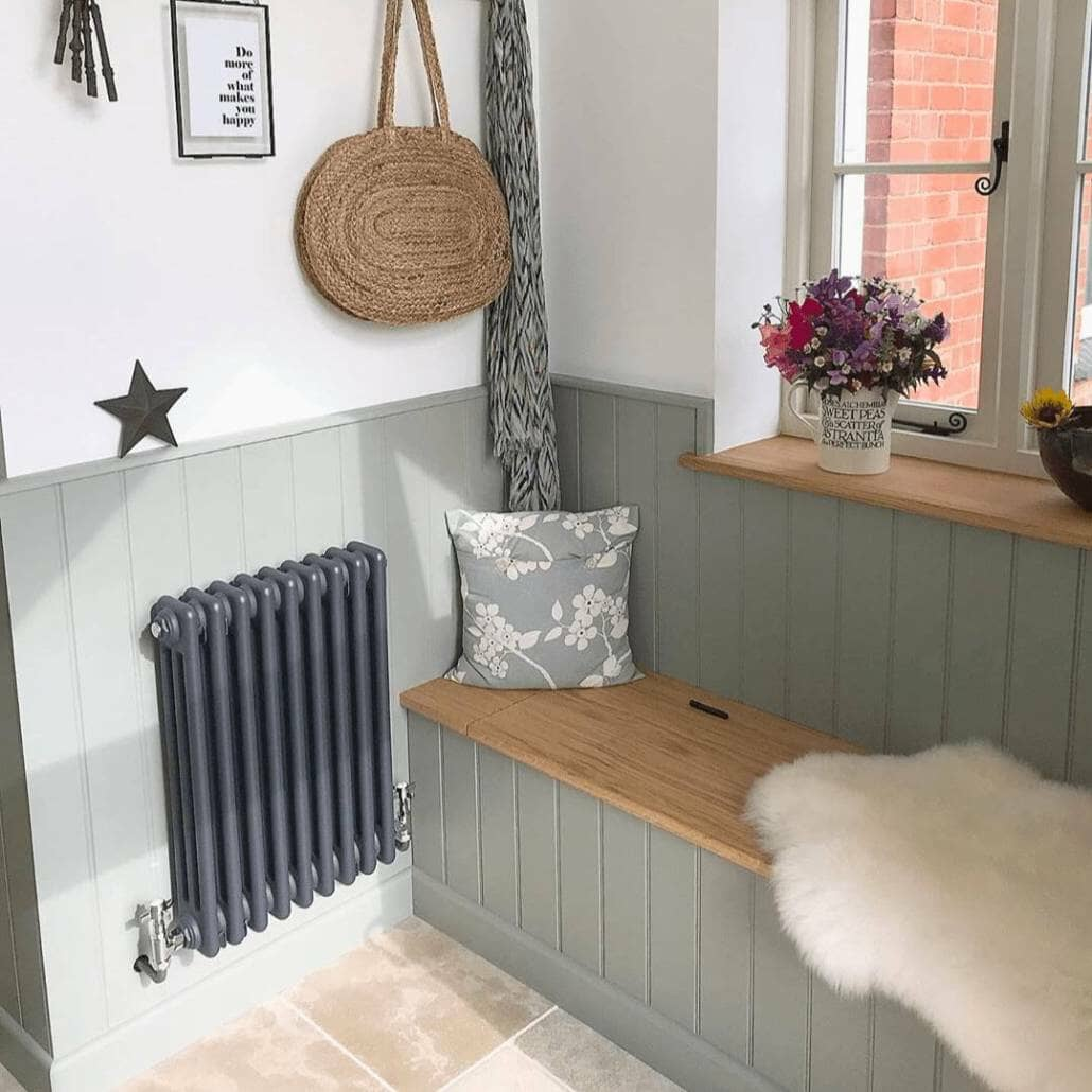 Milano Windsor anthracite radiator in a hallway radiator