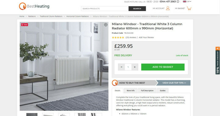 screen shot of best heating product page