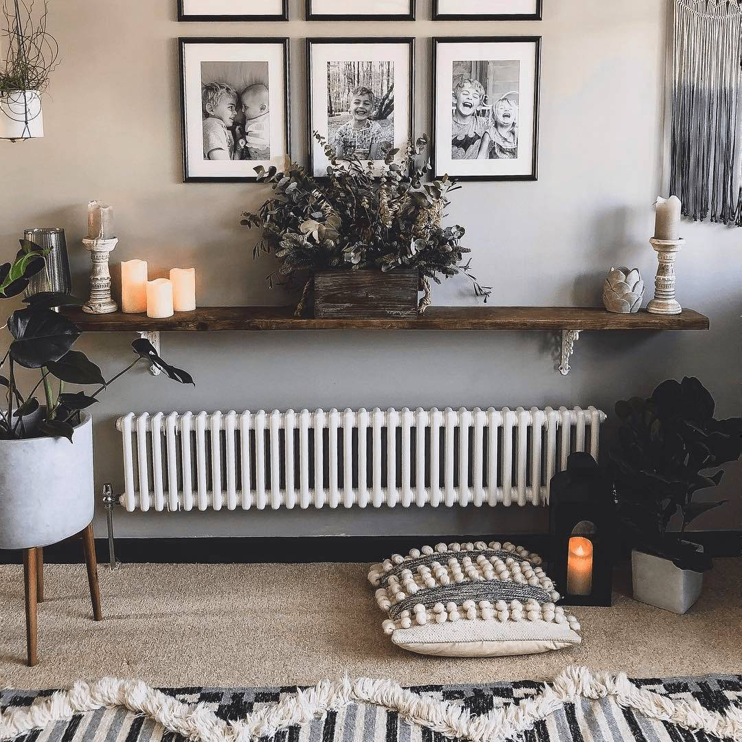 Low level Milano Windsor radiator under a shelf