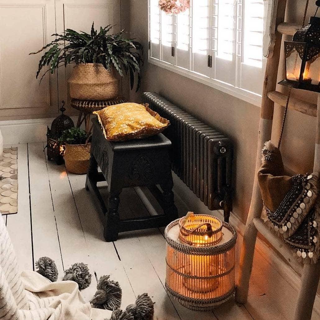 Raw metal Milano Windsor radiator in a boho bedroom
