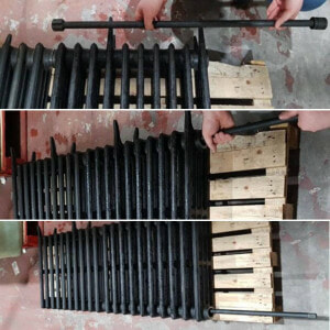 Cast iron radiator sections joined together