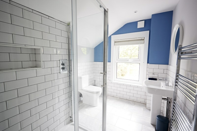 Domestic bathroom seen from a shower cubicle