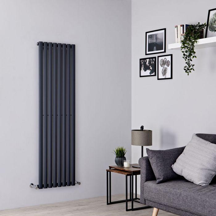 Milano Aruba vertical anthracite radiator on a grey wall