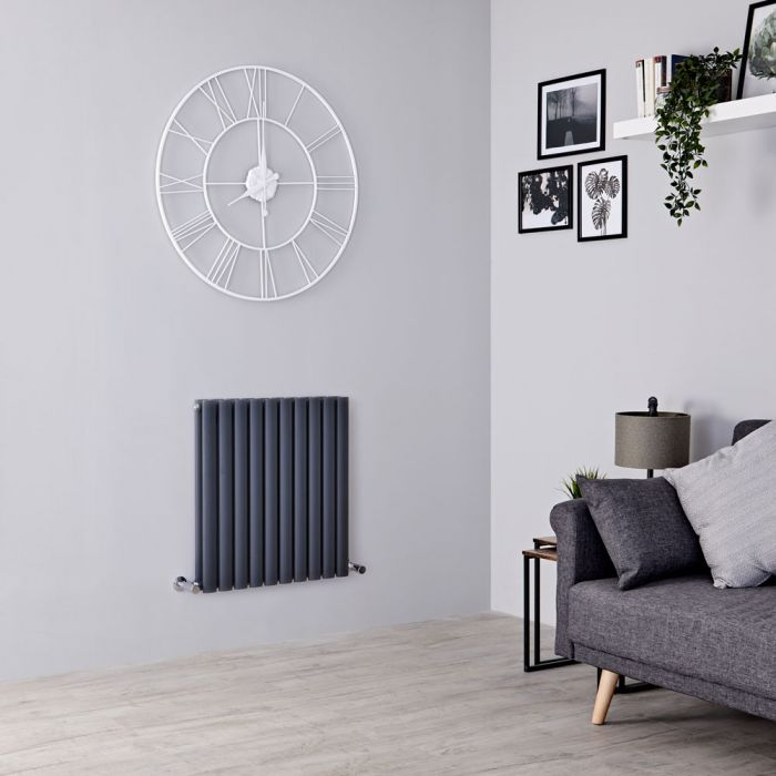 Milano Aruba designer radiator on a grey wall.