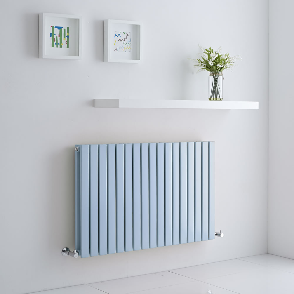 Milano Capri baby blue radiator on a white wall
