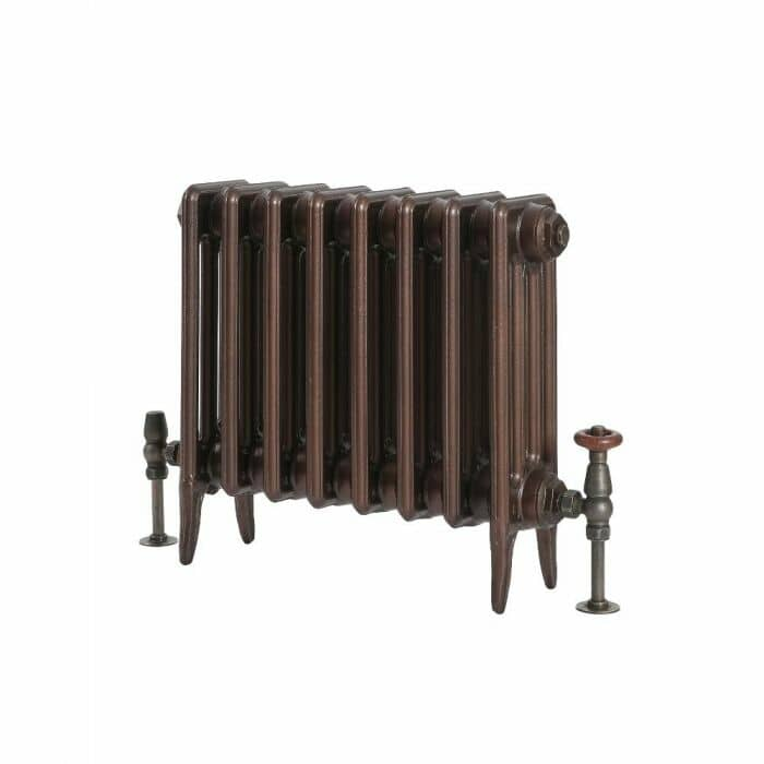 Milano Alice - Low-Level Classic Column Cast Iron Radiator - 460mm Tall - Antique Copper