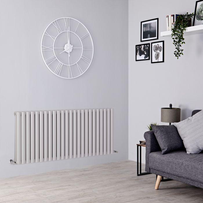 light grey radiator on a grey wall