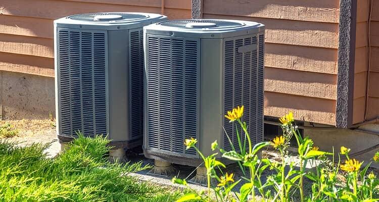 Air source heat pumps outside flat