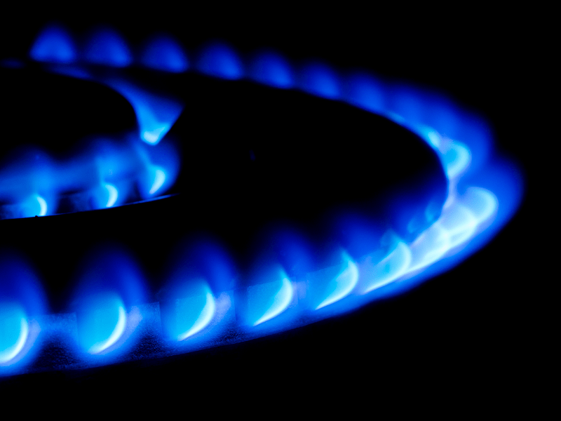 blue flame on a stove