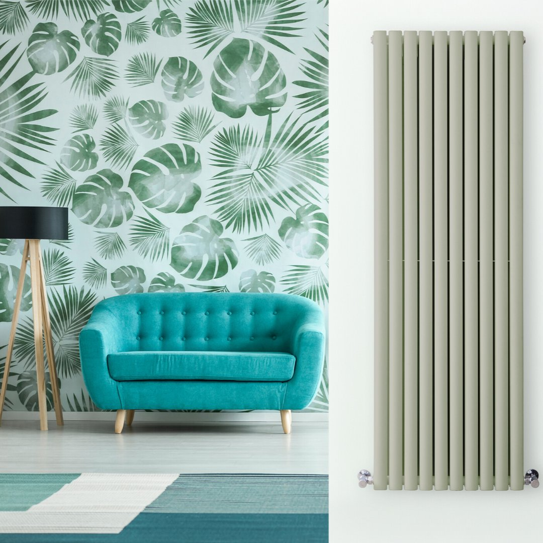 sage green radiator in a green living room
