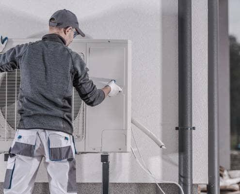 Air source heat pump installation