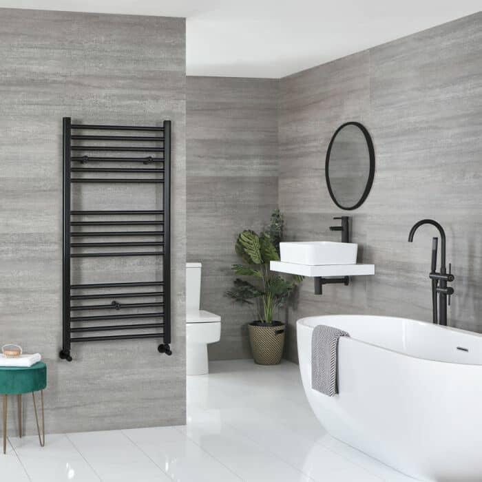 Milano Nero black heated towel rail in a bathroom