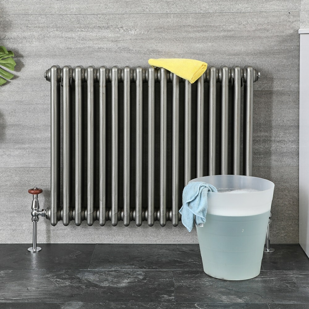 soapy water and cloth to clean radiator