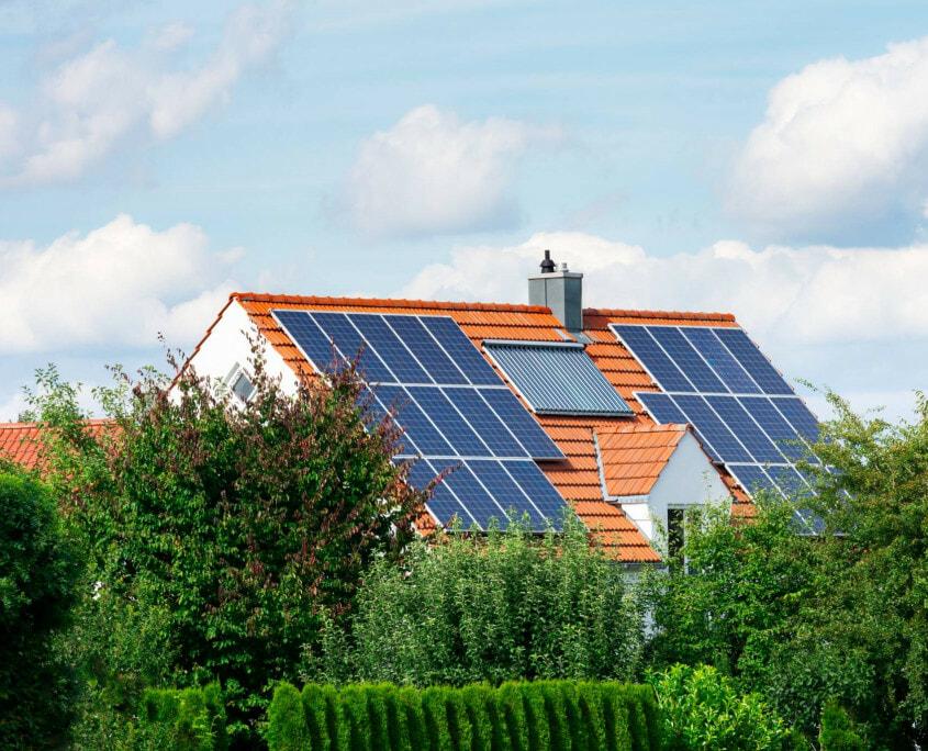 modern solar panel home