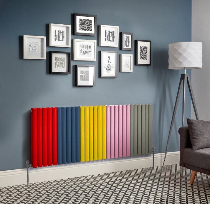 multi coloured radiator on a wall in a lounge