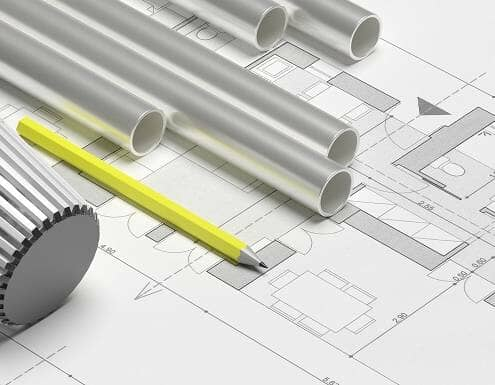 Radiator thermostat with pipes and heating installation plans