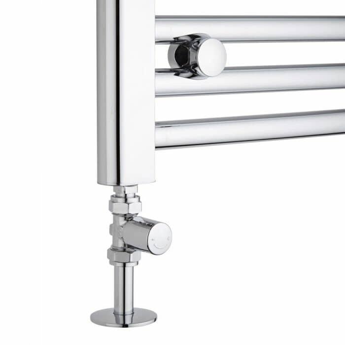 straight radiator valves on a heated towel rail