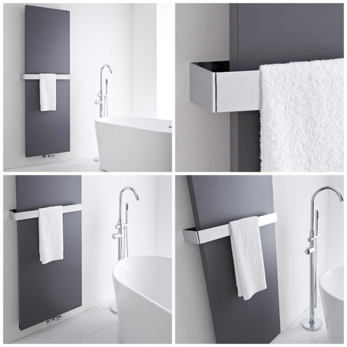 Milano Riso vertical radiator with a towel rail.
